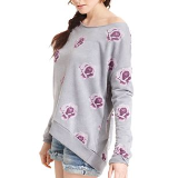 Long-Sleeve Scoop-Neck Floral-Print Sweater