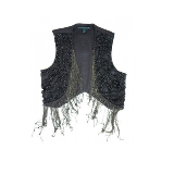 Black Beaded Pearl Bolero Vest