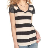 Cap-Sleeve Faux-Leather Striped Tee