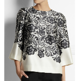 Lace-print silk-satin top