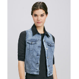 Rizzo Rush Leather-Collar Denim Vest