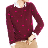 Polka-Dot Crew-Neck Cashmere Sweater