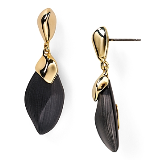 Kinshasa Liquid Metal Capped Black Lucite Earrings