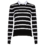 Striped Crewneck Collared Shirt