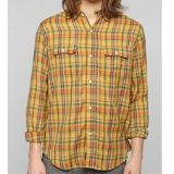 Lightweight Plain Flannel Button Down Shirt | Yellow