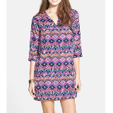Notch Neck Shift Dress | Purple Tie Print