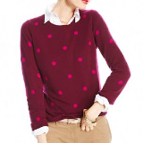 Polka Dot Crew Neck Cashmere Sweater | Black Cherry