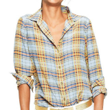 Silk Plaid Shirt | Chambray & Pumpkin