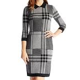 Plaid Wool Blend Sweater Dress