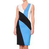 V-Neck Colorblock Punto Roma Dress