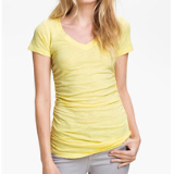 Shirred V-neck Tee | Yellow