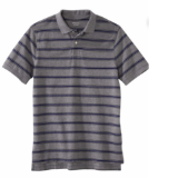 Grey Blue Striped Polo Shirt
