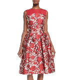 Fit-&-Flare Rose Print Cocktail Dress