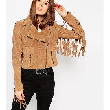 Biker Jacket in Suede with Fringing