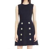 Daisy Crystal Button Wool Crepe Dress