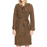 Dellsbridge Long Single Breasted Suede Trench Coat