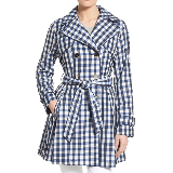 Gingham Print Double Breasted Trench Coat