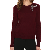 Embellished Brooch Sweater | Midnight Wine