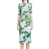 Hydrangea Print Stretch Silk Dress