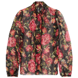 Rose pussy-bow printed silk-chiffo blouse