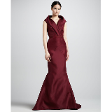 Sleeveless Shawl-Collar Mermaid Gown, Wine