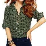 Green Silk Equestrian Print Shirt