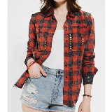 Plaid Shirt | Red Acid-Wash