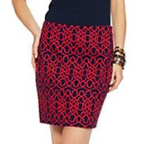 Graphic Geo Stretch Pique Skirt
