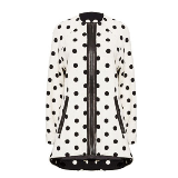 Collarless Polka Dot Coat