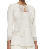 Beaded Organza-Trimmed Boucle Jacket